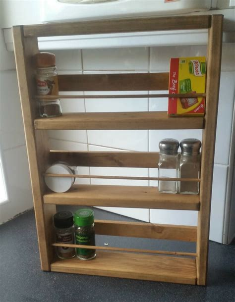 Chunky Wooden Spice Rack & Fittings  Hand Crafted H50cm X