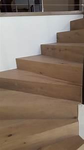 Marche D Escalier En Chene : habillage d 39 un escalier en b ton avec marche en ch ne aix en provence parqueterie aixoise ~ Melissatoandfro.com Idées de Décoration