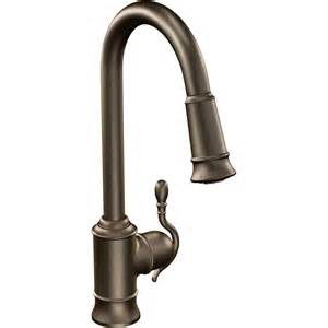single handle pulldown kitchen faucet moen s7208orb woodmere rubbed bronze pullout spray