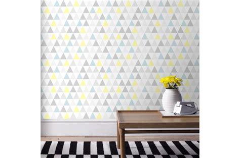 papier peint graphic triangle jaune bleu papier peint