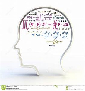 Outline Of Human Head With Advanced Mathematical Stock ...