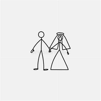 Stick Figure Icon Bride Groom Vector Illustration