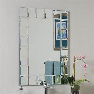 Decor wonderland ssm414 1 montreal modern bathroom mirror for Kitchen cabinets lowes with mirror art wall