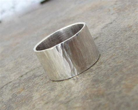 mens wedding band silver hammered wedding ring wide rustic