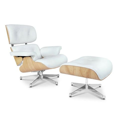 Eames Style Lounge Chair And Ottoman by Eames Style Ashwood Lounge Chair And Ottoman Set In White