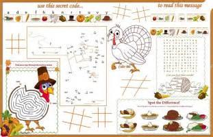 placemat thanksgiving printable activity sheet 1 stock vector candywrap 69538983