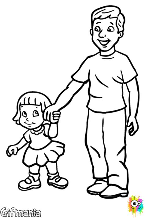 father  daughter coloring page