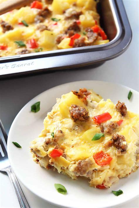 breakfast casserole with breakfast casserole with eggs potatoes and sausage leelalicious