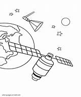 Coloring Space Pages Sheets Printable Satellite Boys sketch template