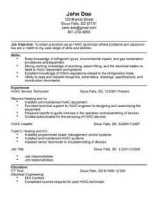 hvac tech resume exles hvac technician resume