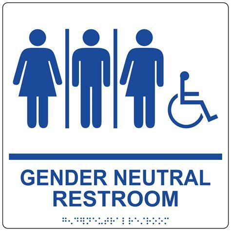 ada gender neutral restroom sign rre 25443 99 bluonwht