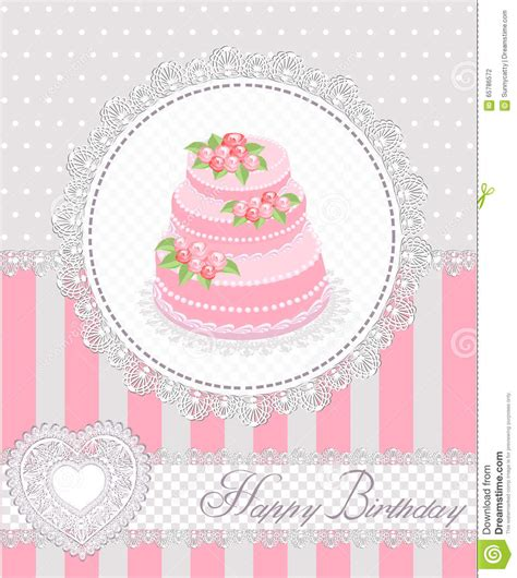 happy birthday greeting card  cake  lace vector