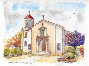 St. Mary's Catholic Church, Oakdale, California Painting ...