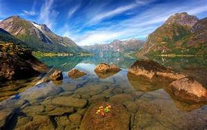 Water, Mountains, Clouds, Landscapes, Nature, Norway, Geology