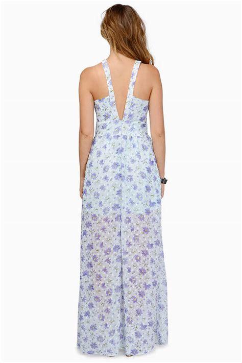 light blue floral dress flower power light blue floral print plunging maxi dress