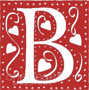 Red Letter B Clipart | Wedding Heart Font