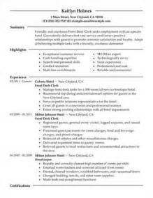 best resumes on indeed front desk clerk resume sle best format