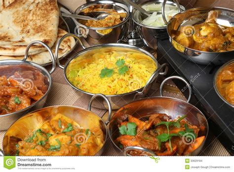 cuisine curry indian food curry banquet selection stock images image