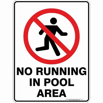 Running Pool Area Signs Safety Water Prohibition