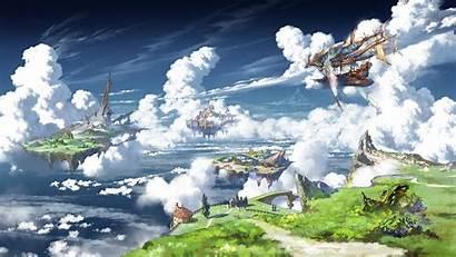Floating Anime Fantasy Island Landscape Ship Granblue