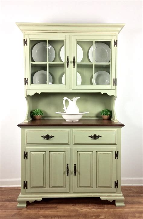 gray and yellow kitchen ideas hutch in bayberry green chalk style paint glazing