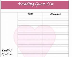 30 free wedding guest list templates templatehub With wedding invitations guest list templates