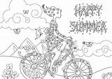 Coloring Summer Stress Happy Anti Landscape Woman Pages Zen Flowers Adults Background Bike Adult Justcolor Little Lovely Printable sketch template