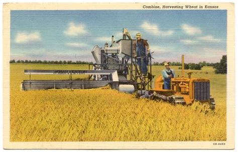 kansas combine and tractor at wheat harvest 1940