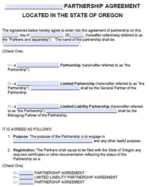 oregon partnership agreement template  word