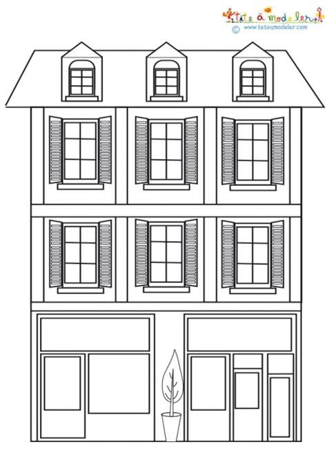 une maison de ville  colorier coloriage tete  modeler