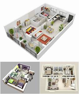 10 awesome two bedroom apartment 3d floor plans amazing With 1bed room 3d home plan