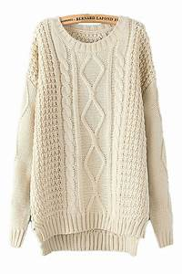 Beige White Diamond Cable Knit Sweater Winter Sweaters For ...