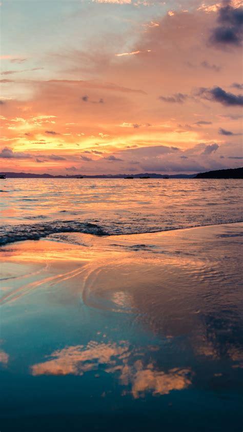 wallpaper sunset ocean beach sky clouds  nature
