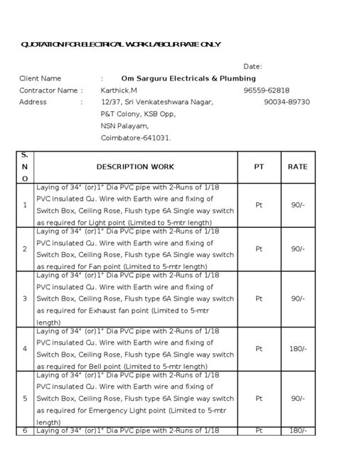 quotation  electrical work labour rate  switch