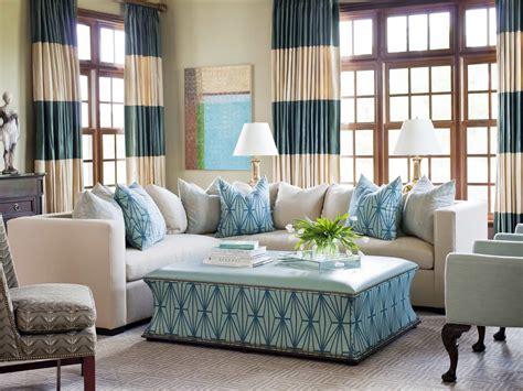 Elegant White And Turquoise Coastal Living Room #49957