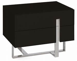 Table De Chevet Wengé : table de chevet moderne noir laqu et acier dezina ~ Teatrodelosmanantiales.com Idées de Décoration