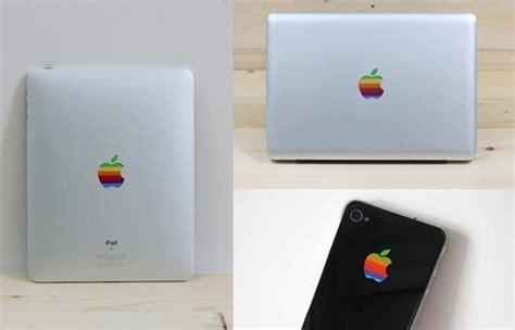 retro rainbow apple logo decals  ipad iphone