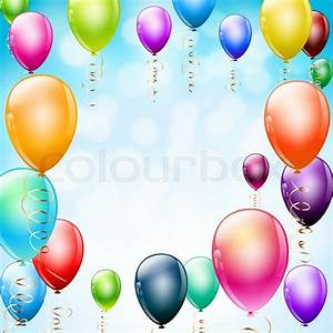 Happy birthday balloons frame with confetti Stock Vector