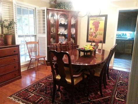 Cherry Dining Table, Chairs, China Cabinet   should I