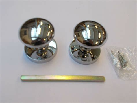 polished chrome victorian  mortice door knobs pull