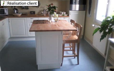 realisation cuisine ilot de cuisine avec plan de travail en hêtre le du bois