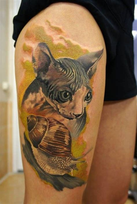 realistic sphynx cat  snail watercolor tattoo  thigh