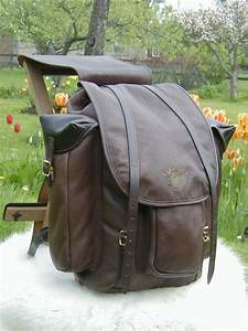 Jaktryggsäck med stol i skinn