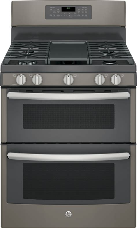ge 6 8 cu ft self cleaning freestanding oven gas convection range slate at pacific