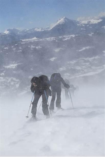 Hike Snowshoe Alps Summit Blizzard Through Wind