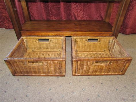 sofa table with baskets lot detail lovely matching sofa table with basket storage