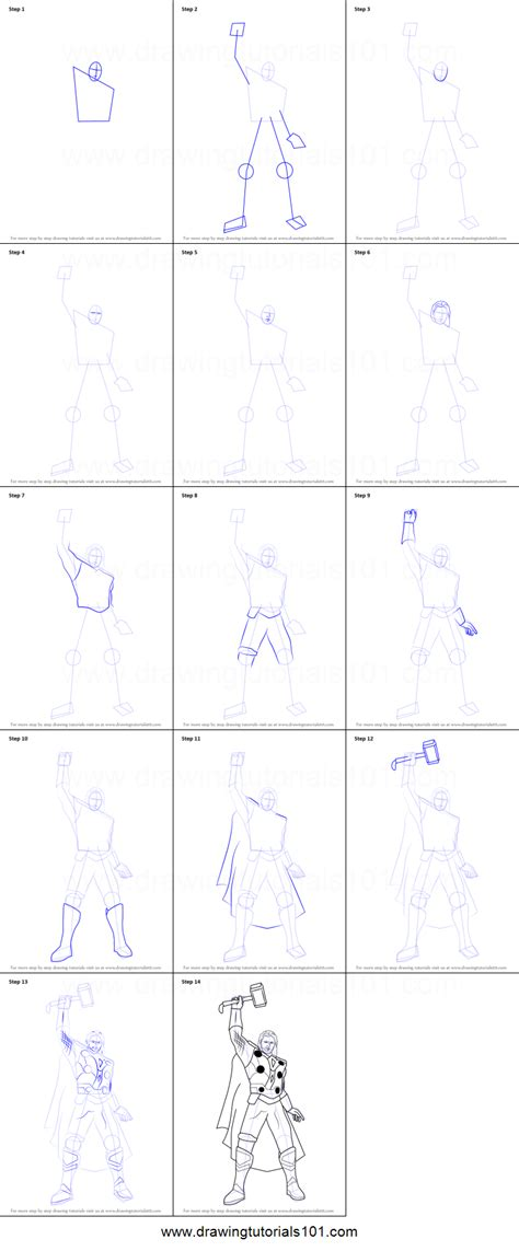 draw thor printable step  step drawing sheet