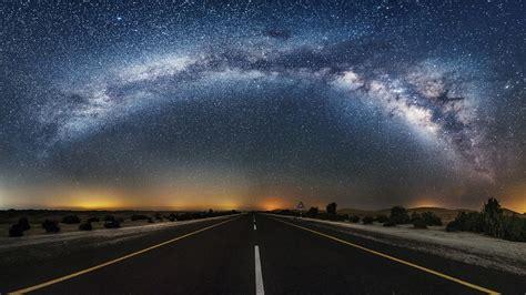 Wallpaper Night Galaxy Road Stars Milky Way Desert