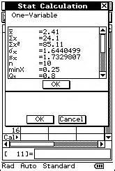 ClassPad Statistics Examples