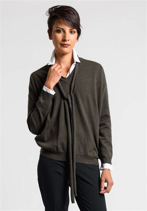 v neck sweater with tie brunello cucinelli paillette tie v neck sweater